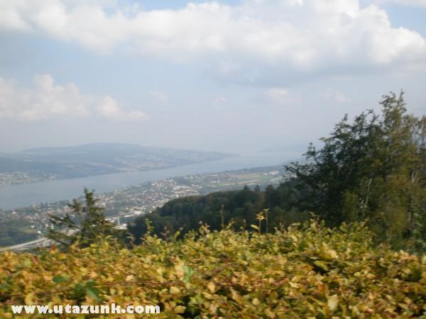Uetlibergi kilátás a zürichi tóra és a városra