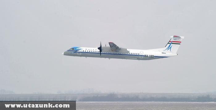 Bombardier Q400-as Malév gép retró festéssel