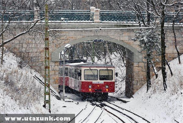 Fogaskerekû halad a hóesésben a XII. kerületi Agancs utcai felüljáró alatt, a Széchenyi-hegyen